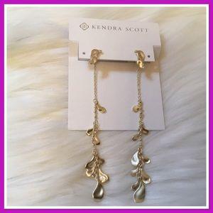 Kendra Scott Pamela Statement Earrings Gold NWT